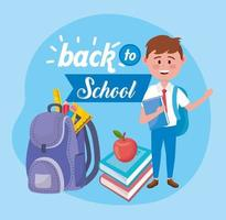 Back to school poster with boy and backpack