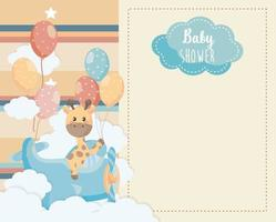 Baby shower card with giraffe in airplane