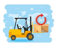 Forklift lifting box package and delivery service vector