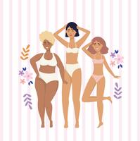 Diverse women in underclothes  vector