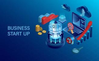 concept de démarrage avec des hommes d'affaires, fusée, ordinateur portable et autres éléments de l'entreprise