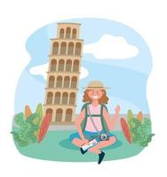 Woman with backpack at Tower of Pisa