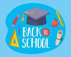 Messaggio di ritorno a scuola con elementi educativi