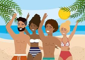 Kvinnor och män som bär i baddräkter på stranden