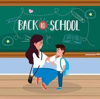 Affiche de retour à l'école avec mère et fils