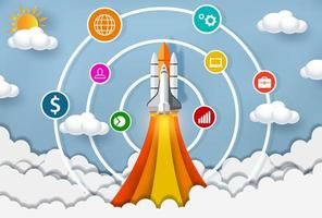 transbordador espacial lanzándose al cielo con círculos e íconos