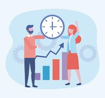 Businessman and businesswoman with clock and statistics bar