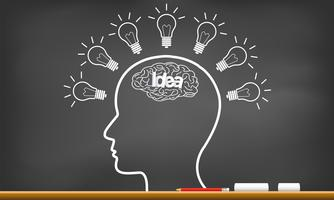 human brain in head with multiple light bulb sparking idea in business on blackboard