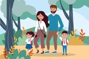 Mãe e pai com seus alunos de meninas e meninos