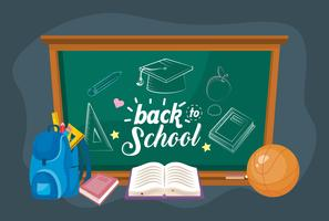 Pizarra de regreso a la escuela con mochila y libros