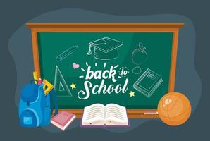 Back to school blackboard with backpack and books