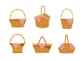 Set of empty picnic baskets