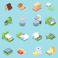 Ensemble d'icônes de production de papier