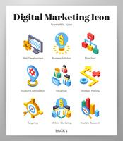 Digitale marketing pictogrammen Isometic pack