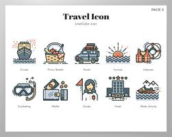 Travel icons LineColor pack