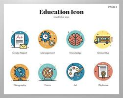 Education icons LineColor pack