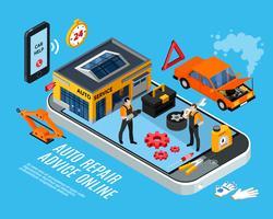 Auto-reparation online rådgivningskoncept