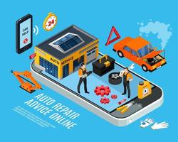 Auto reparatie online advies concept