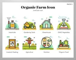 Organic farm icons LineColor pack