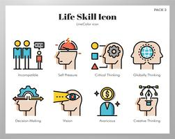 Life skill icons LineColor pack vector