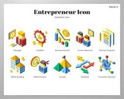 Pacote isométrico de ícones de empreendedor