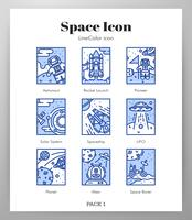 Iconos de marco espacial LineColor pack vector