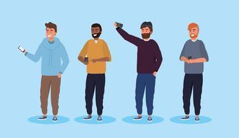 Uppsättning av män med smartphones