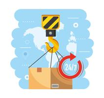 Crane hook lifting box with world map behind  vector