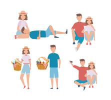 Set of men and women couple with picnic food