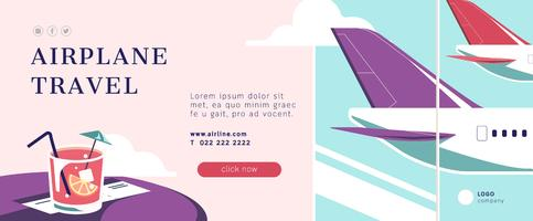 Airplane travel banner layout vector
