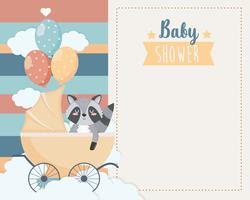 Baby shower card with raccoon in carriage