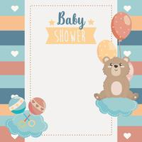 Baby shower card with bear on cloud with balloons