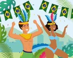 Manliga och kvinnliga karnevaldansare i kostym