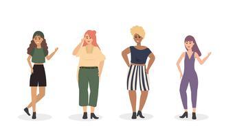 Ensemble de diverses femmes en vêtements décontractés