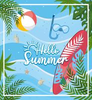 Hello summer message with surfboard and water