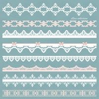 Set of cute straight lace in pastel colors. vector