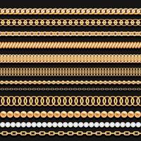 Ensemble de chaînes de perles d'or et de cordes sur fond noir. Brosses sans soudure pour la conception.