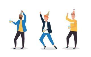 Satz von Männern in Partyhüten tanzen