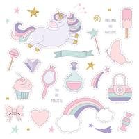Unicorn magic set with rainbow, stars and sweets. vector
