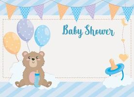 Baby shower card with bear and balloons