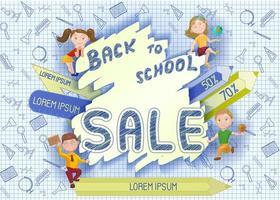 Concepto de venta de regreso a la escuela, pancarta, póster de niños lindos de la escuela de dibujos animados