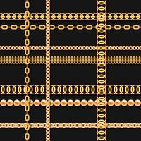 Gold chains and beads on black luxury seamless pattern
