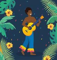Manlig brasiliansk musiker med gitarr i traditionell dräkt