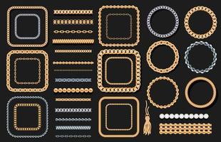 Conjunto de cadenas de oro y plata, cuerdas, cuentas en negro. Joyas elementos decorativos de lujo
