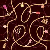 Seamless mönster med kedjor, hänge och tofsar