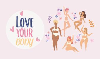 Cartel de love your body con mujeres en ropa interior