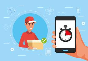 Male delivery man and hand holding smartphone with stopwatch