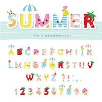 Summer font. Creative cartoon letters and numbers