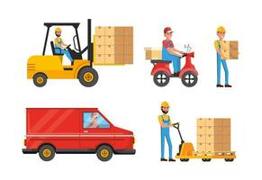 Set of delivery men with box distribution service