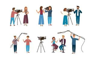 Set of female and male cameraman and reporters
